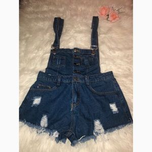 Denim button-front overall shorts